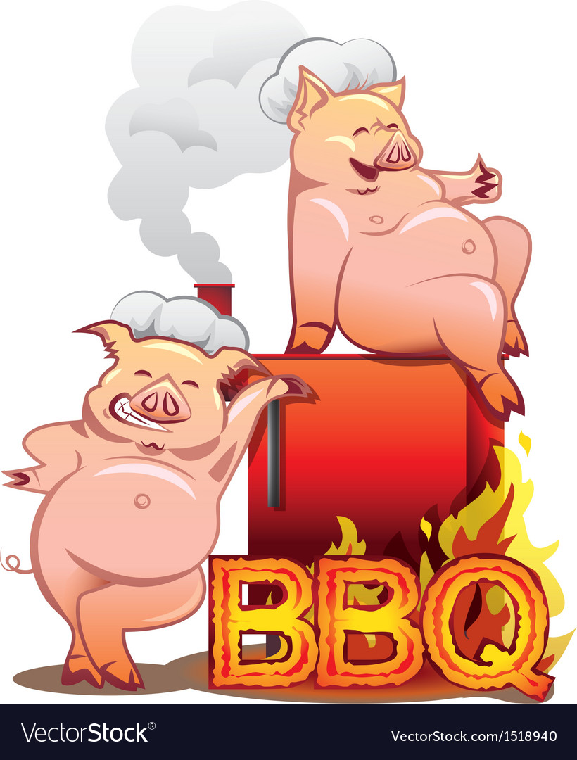 Two funny pigs near the red smoker vector | Price: 1 Credit (USD $1)