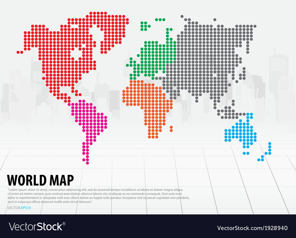 World map with continents vector   Price: 1 Credit (USD $1)