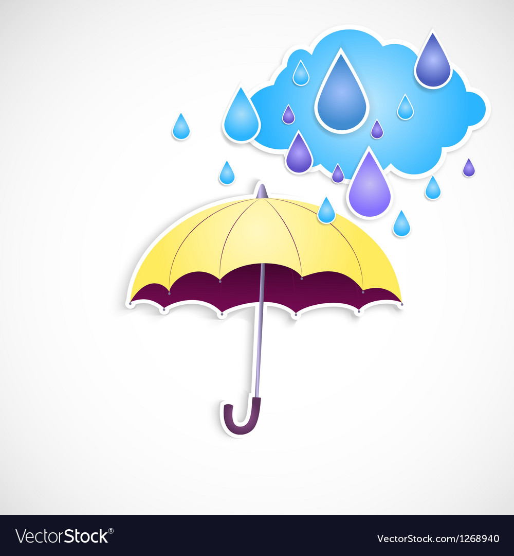 Yellow umbrella and rain isolated vector | Price: 1 Credit (USD $1)