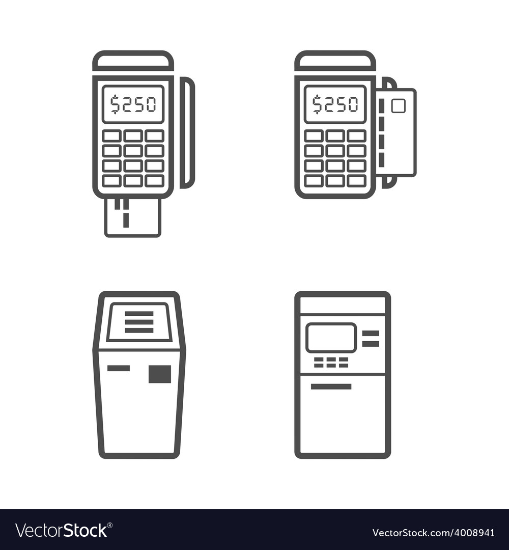 Banking terminal line style icon set vector | Price: 1 Credit (USD $1)