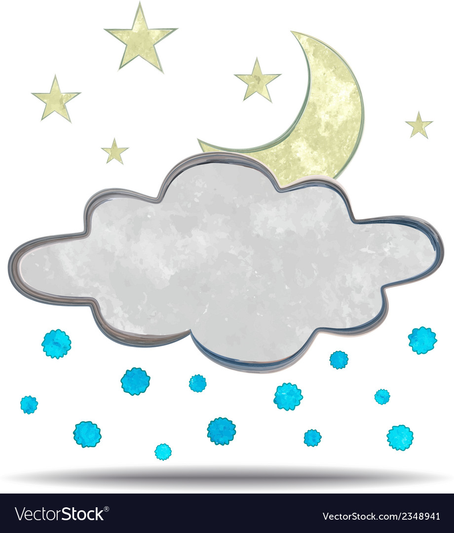 Climate cloud hail and moon vector | Price: 1 Credit (USD $1)