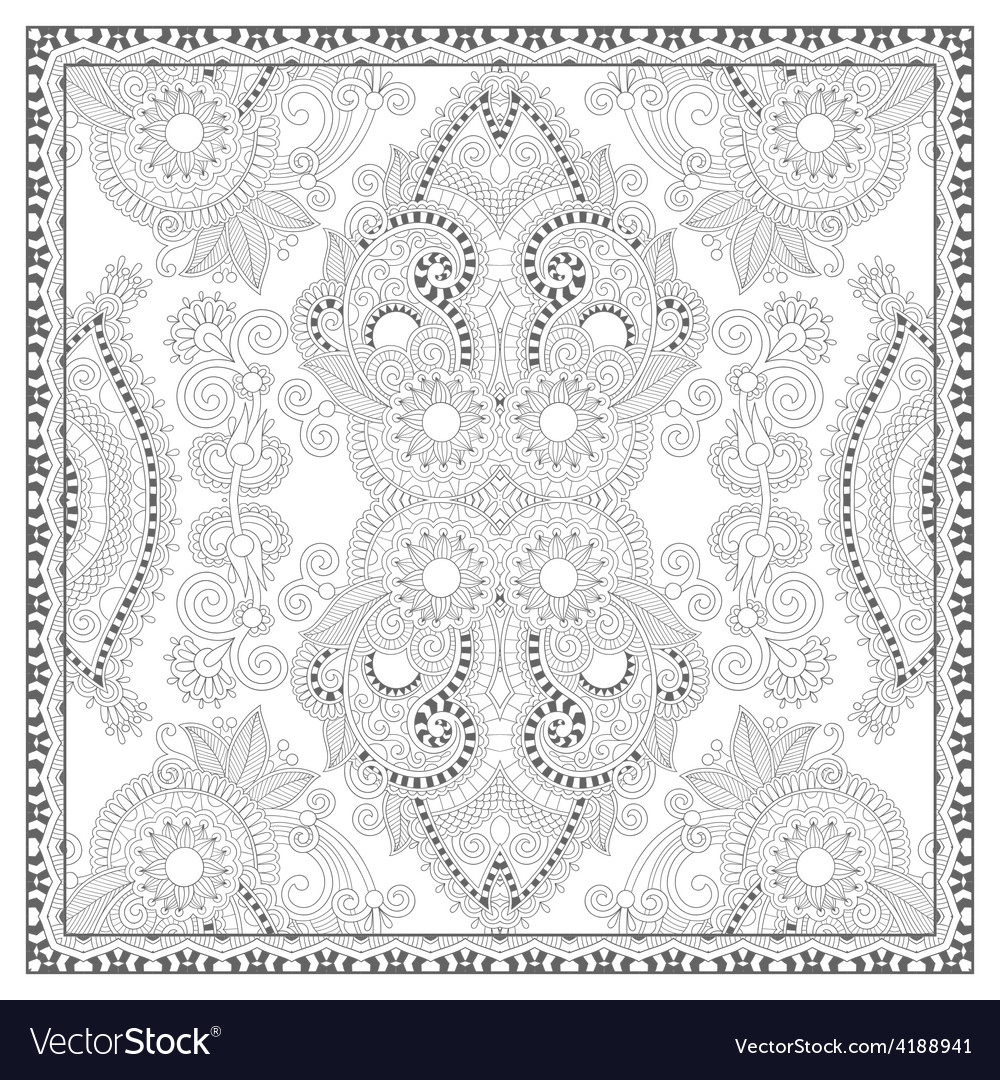 Coloring book square page for adults - ethnic vector | Price: 1 Credit (USD $1)