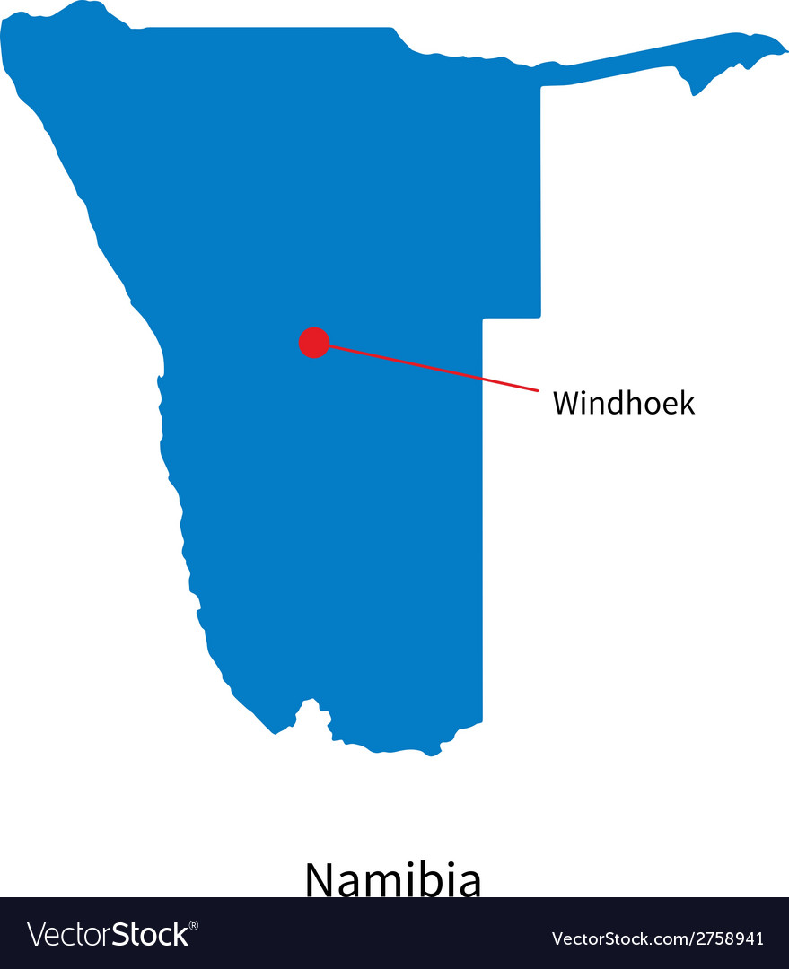 Detailed map of namibia and capital city windhoek vector | Price: 1 Credit (USD $1)