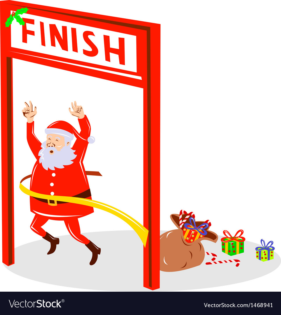 Father christmas santa claus finishing race vector | Price: 1 Credit (USD $1)