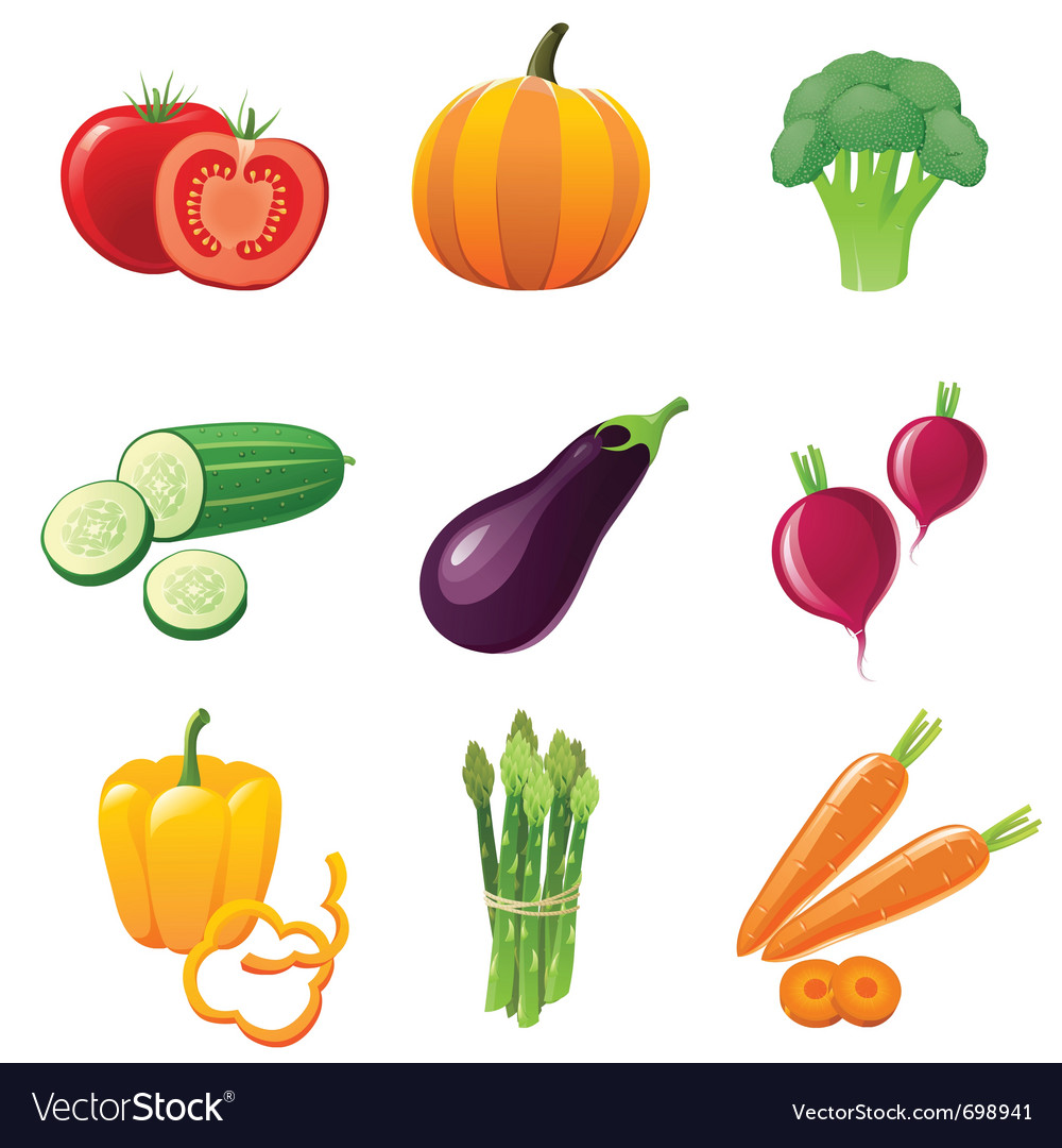 Fresh shiny vegetables - icons set vector | Price: 3 Credit (USD $3)