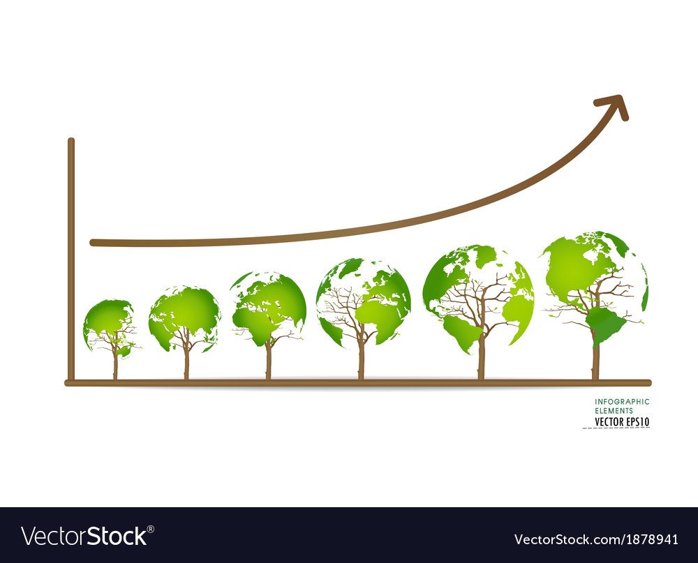 Green economy concept graph of growing vector   Price: 1 Credit (USD $1)