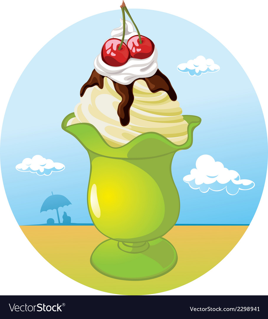Ice cream cup - holiday refreshing vector | Price: 1 Credit (USD $1)