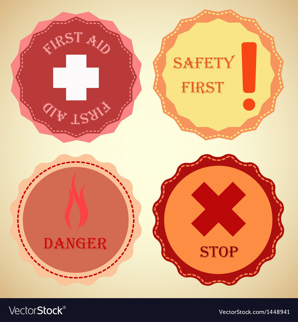 Retro badge collection of warning vector | Price: 1 Credit (USD $1)