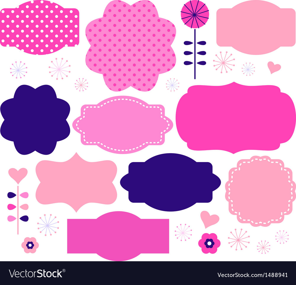 Retro paper patterned colorful tags vector | Price: 1 Credit (USD $1)