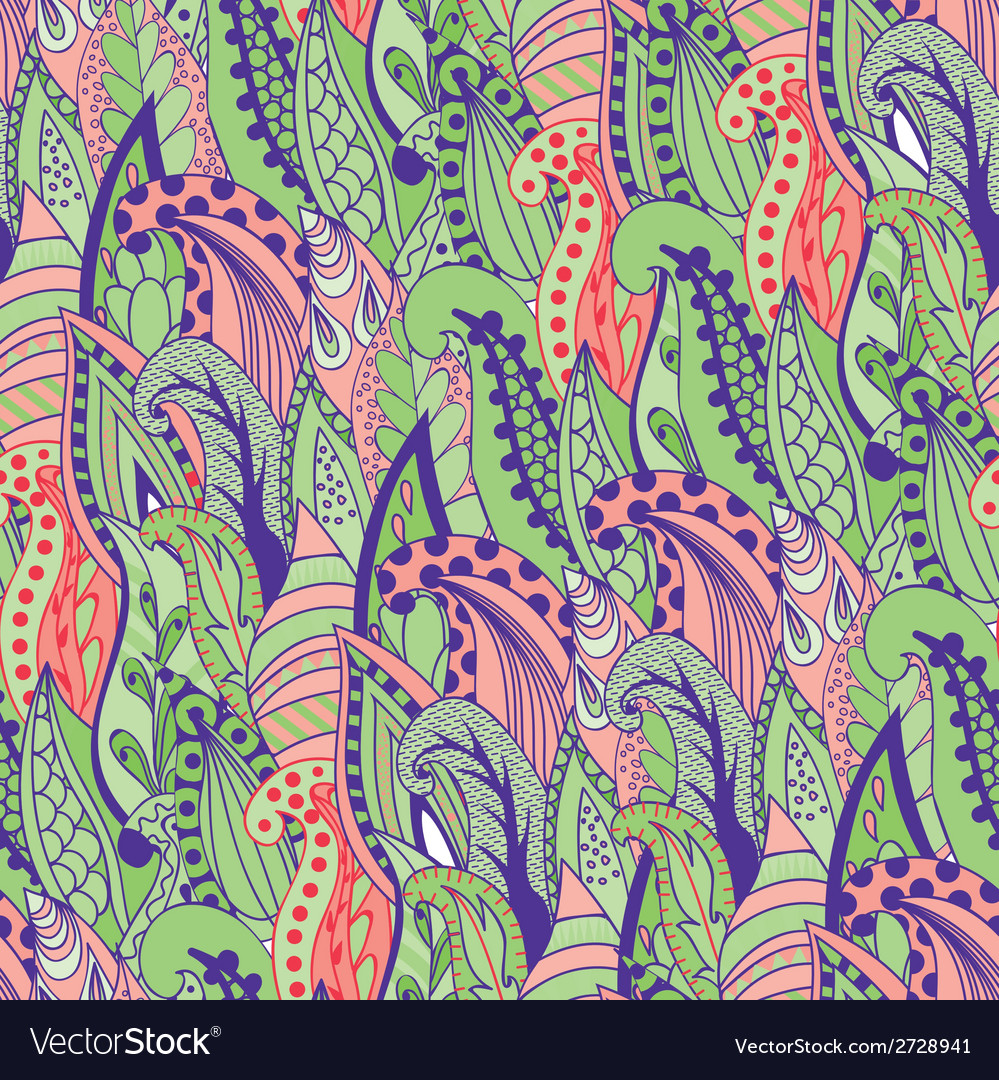 Seamless abstract hand-drawn grass pattern wavy vector | Price: 1 Credit (USD $1)