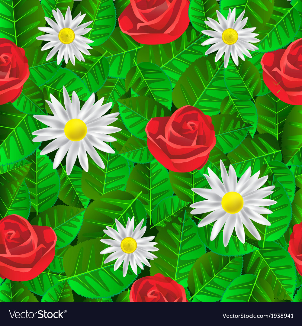 Seamless pattern with leaves daisies and roses vector   Price: 1 Credit (USD $1)
