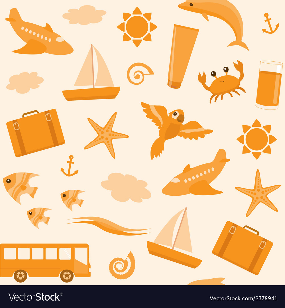 Seamless pattern with travel icons vector   Price: 1 Credit (USD $1)
