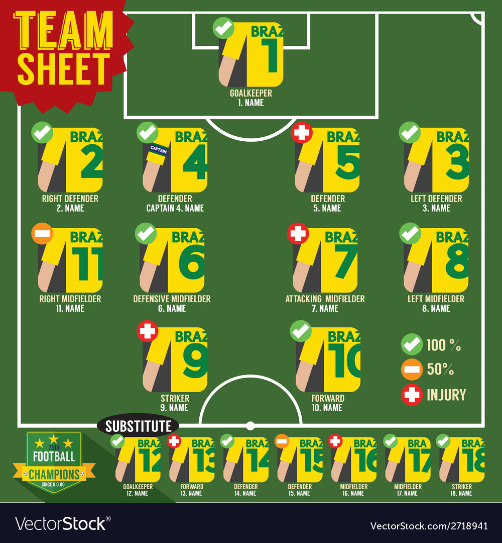 Soccer of football team sheets vector | Price: 1 Credit (USD $1)
