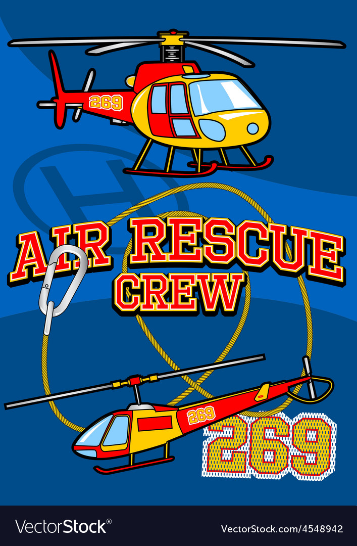 Air rescue with helicopters and equipment vector | Price: 1 Credit (USD $1)