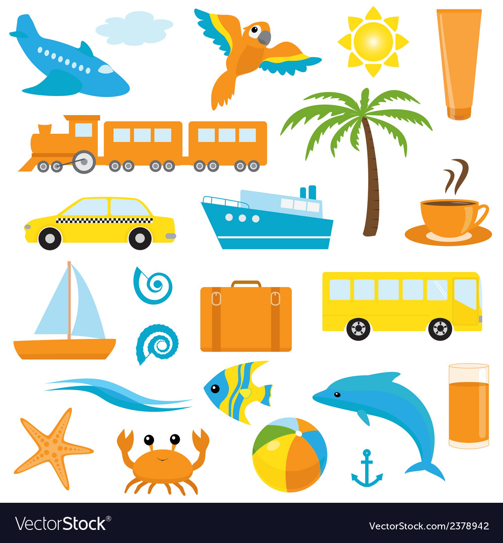 Bright cartoon travel icons vector | Price: 1 Credit (USD $1)