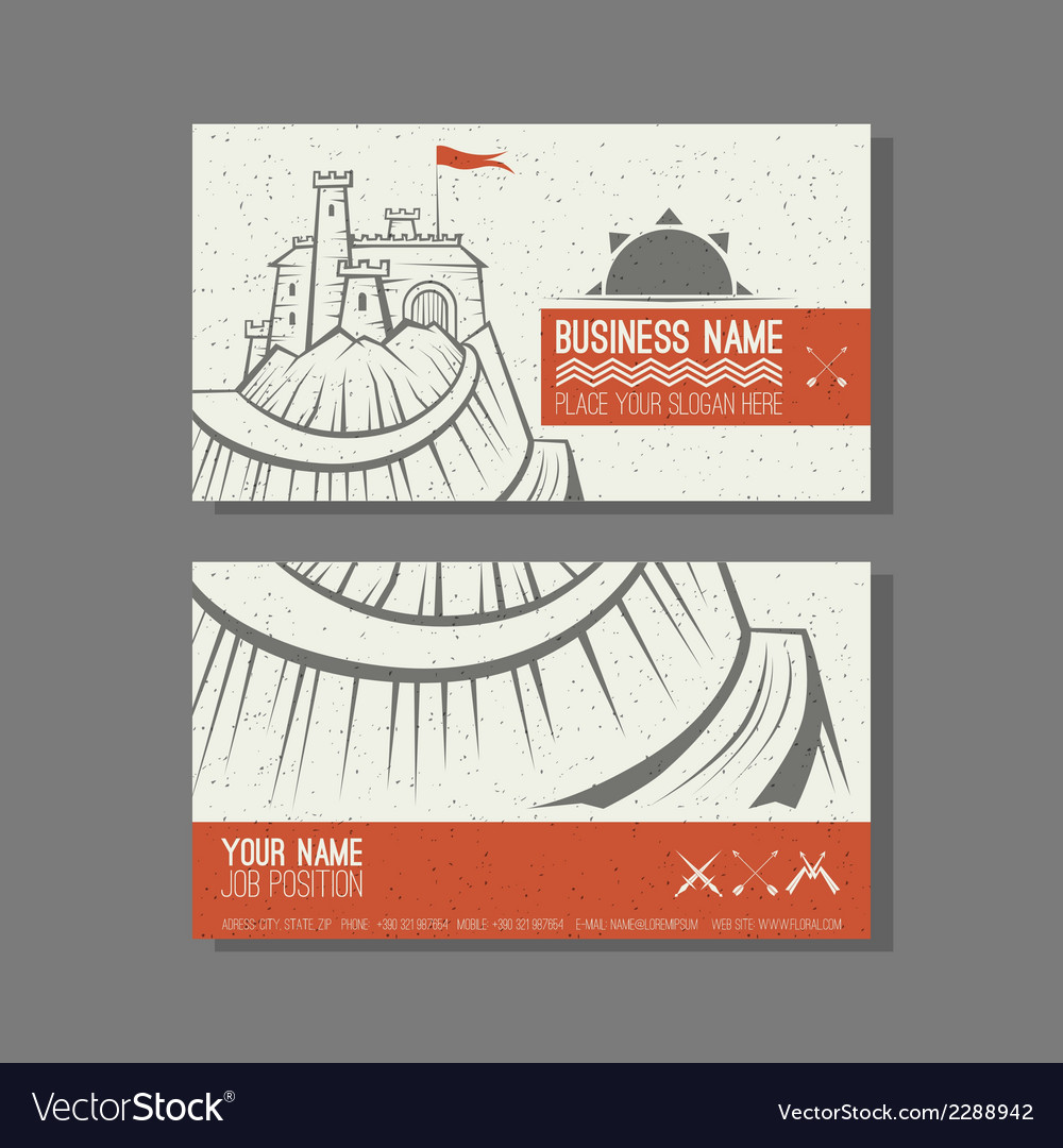 Business card template castle on the mountain vector | Price: 1 Credit (USD $1)