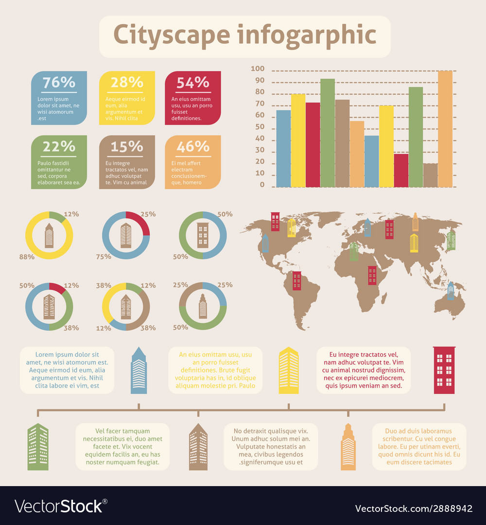 Cityscape icons infographic vector | Price: 1 Credit (USD $1)
