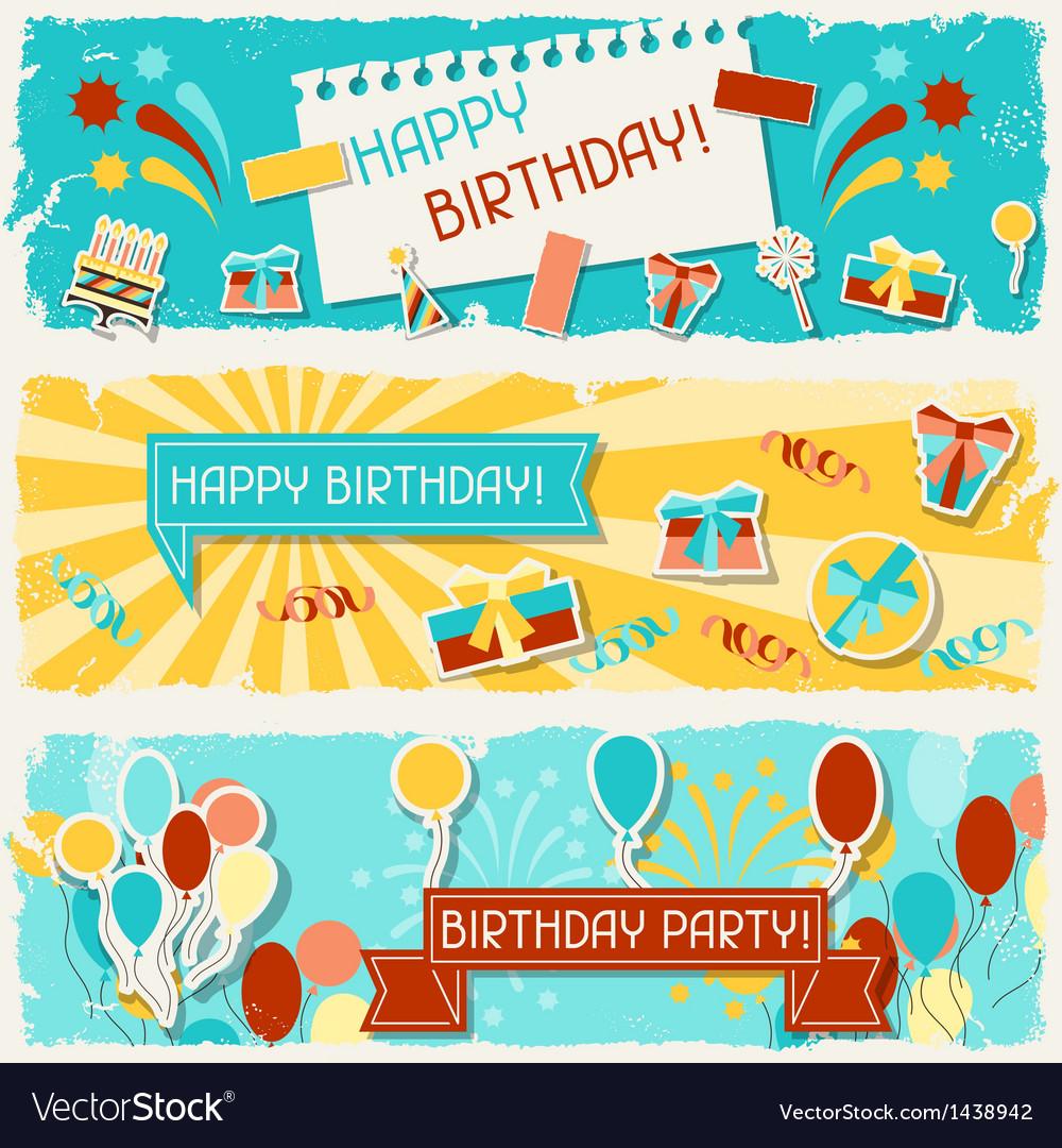Happy birthday horizontal banners vector | Price: 3 Credit (USD $3)