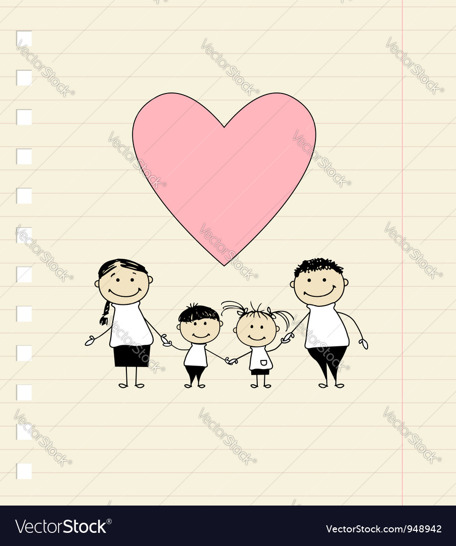 Happy family with love drawing sketch vector | Price: 1 Credit (USD $1)