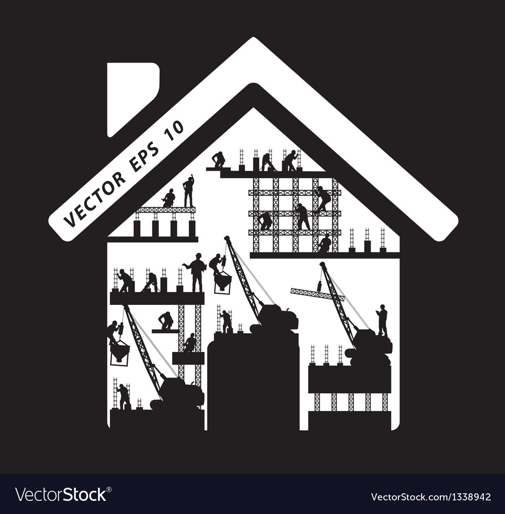 Home icon construction worker silhouette at work vector | Price: 3 Credit (USD $3)