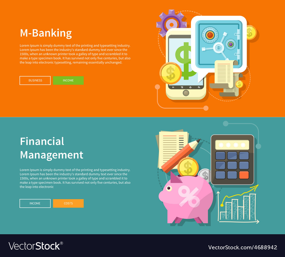Internet online banking and financial management vector | Price: 1 Credit (USD $1)