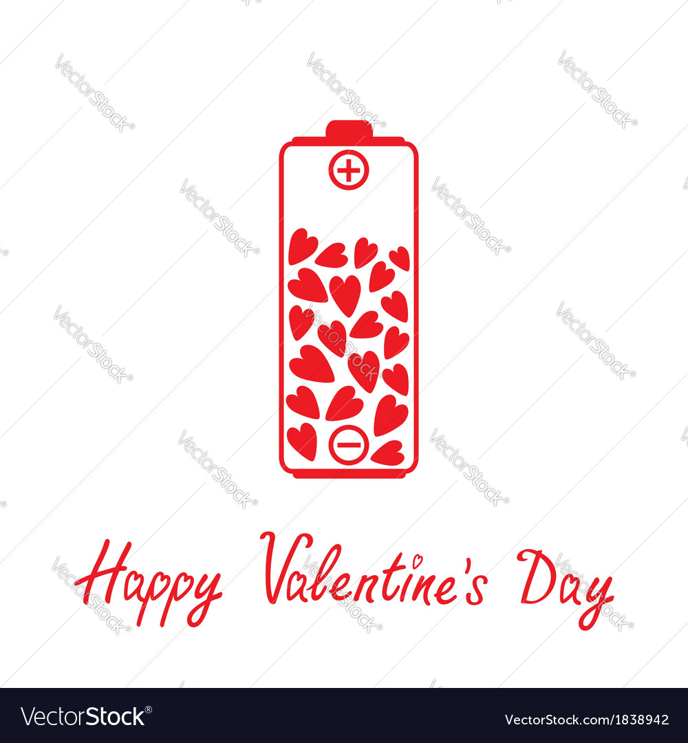 Love battery with hearts inside valentines day vector | Price: 1 Credit (USD $1)