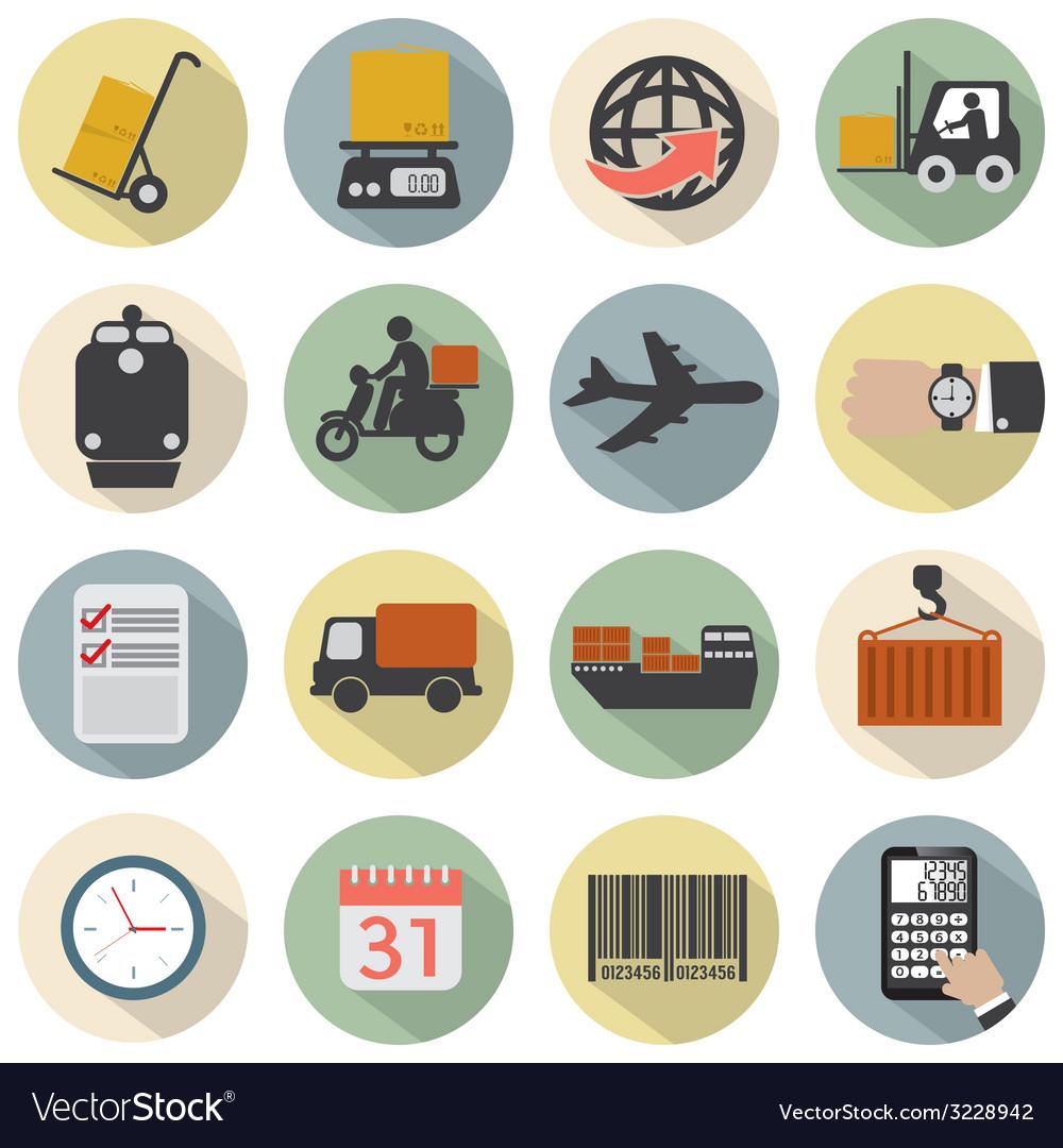 Modern flat design logistics icon set vector | Price: 1 Credit (USD $1)