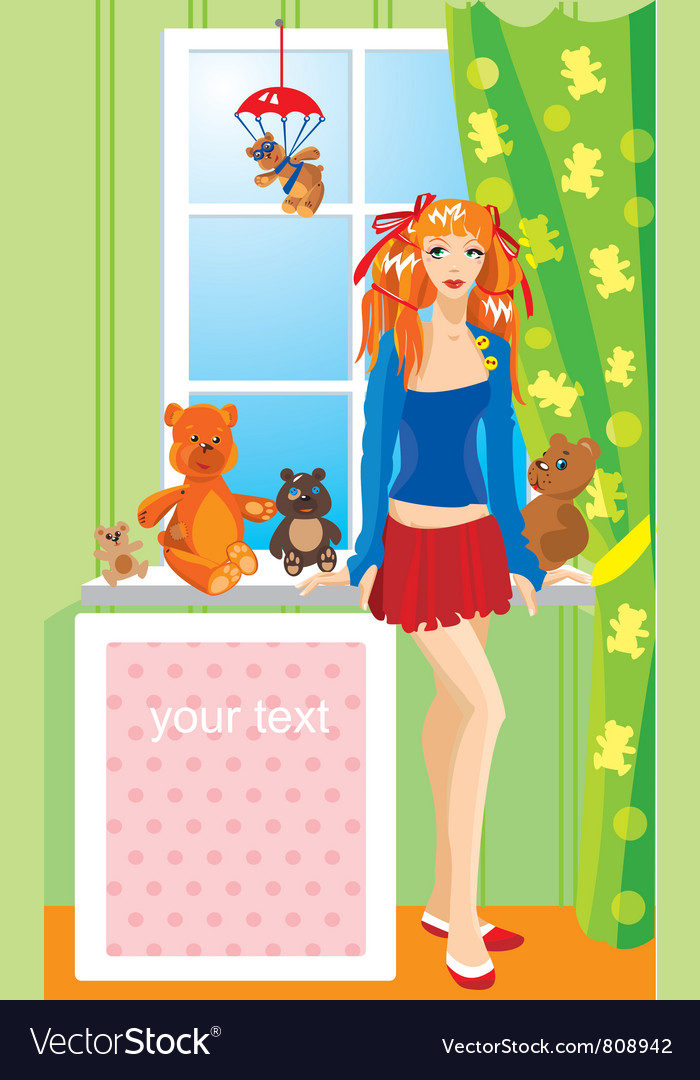 Pretty girl with teddy bear toys vector | Price: 3 Credit (USD $3)