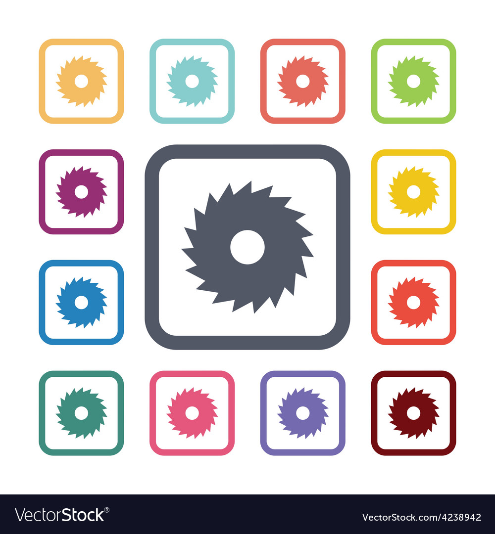 Saw flat icons set vector | Price: 1 Credit (USD $1)