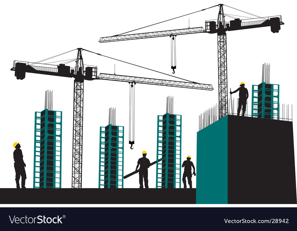 Silhouette of construction site vector | Price: 1 Credit (USD $1)