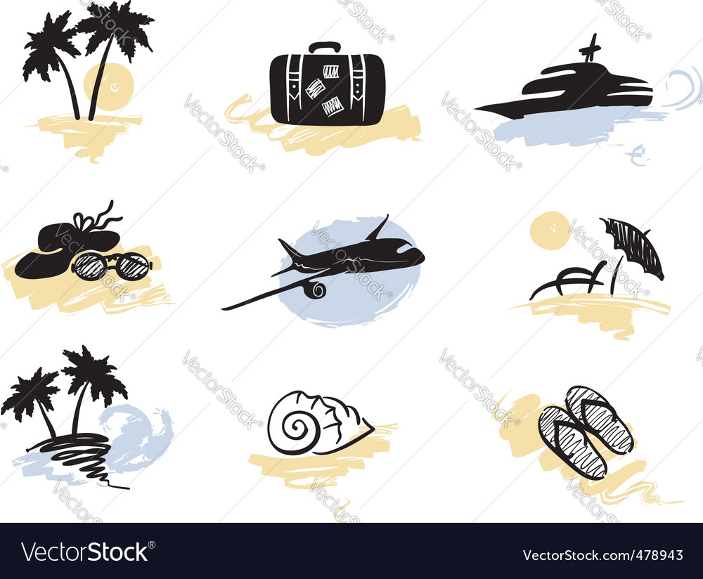Beach and traveling vector | Price: 1 Credit (USD $1)
