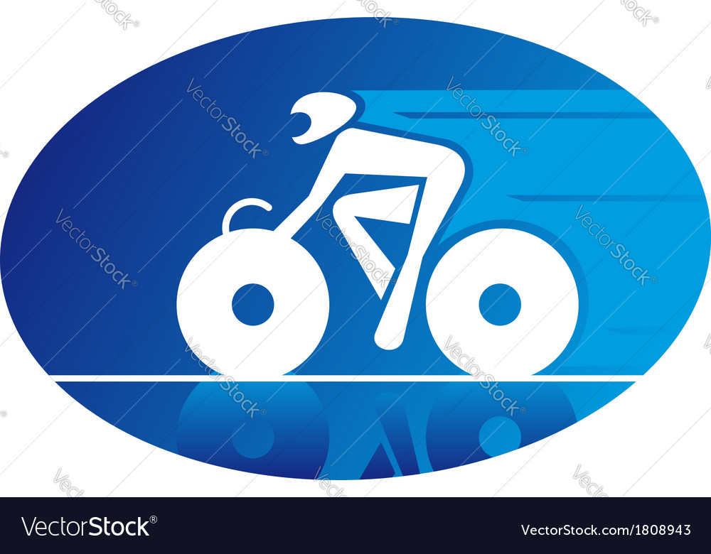 Blue icon of a racing cyclist vector | Price: 1 Credit (USD $1)