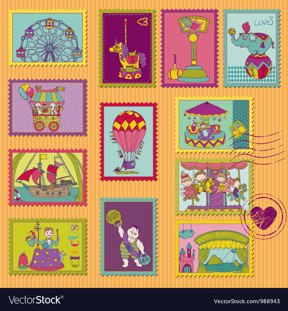 Funny circus postage stamps vector | Price: 3 Credit (USD $3)