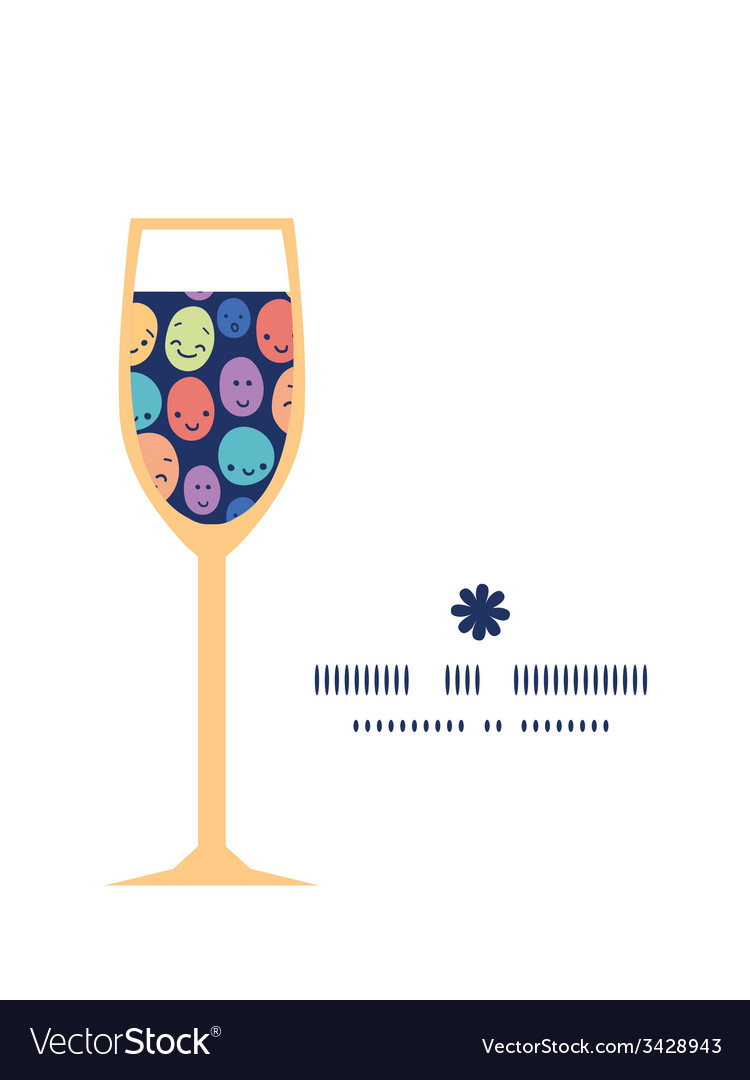 Funny faces wine glass silhouette pattern frame vector   Price: 1 Credit (USD $1)