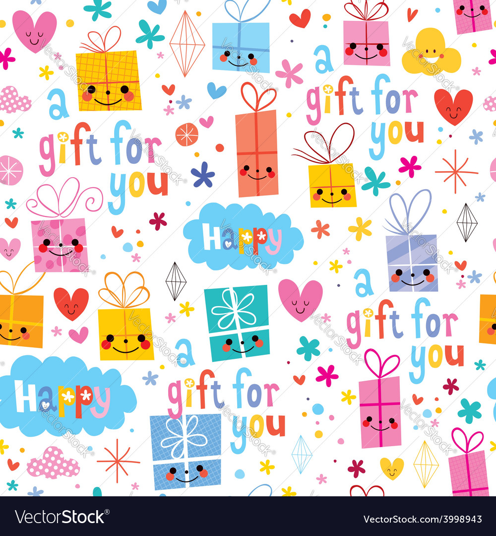 Gift wrapping paper cartoon seamless pattern vector | Price: 1 Credit (USD $1)