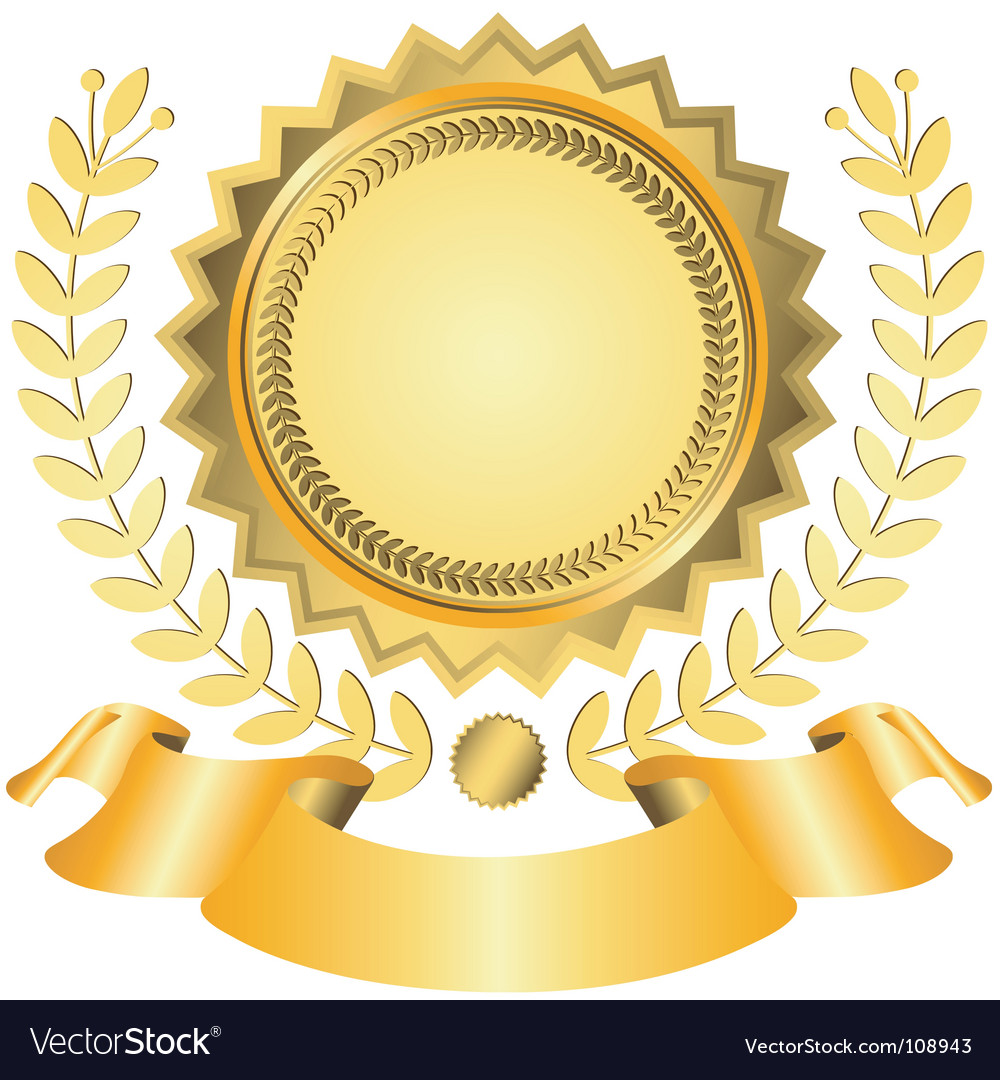 Golden award with ribbon vector | Price: 1 Credit (USD $1)