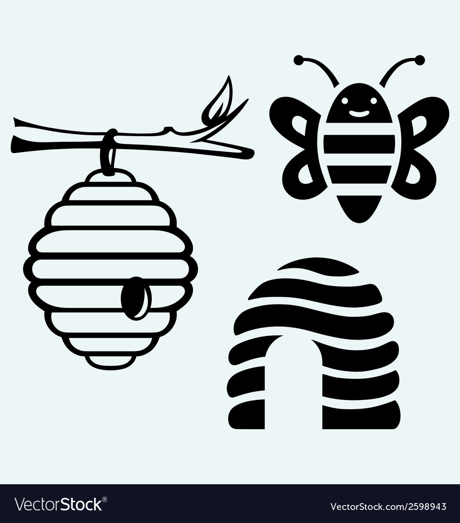 Honey bees and hive vector | Price: 1 Credit (USD $1)