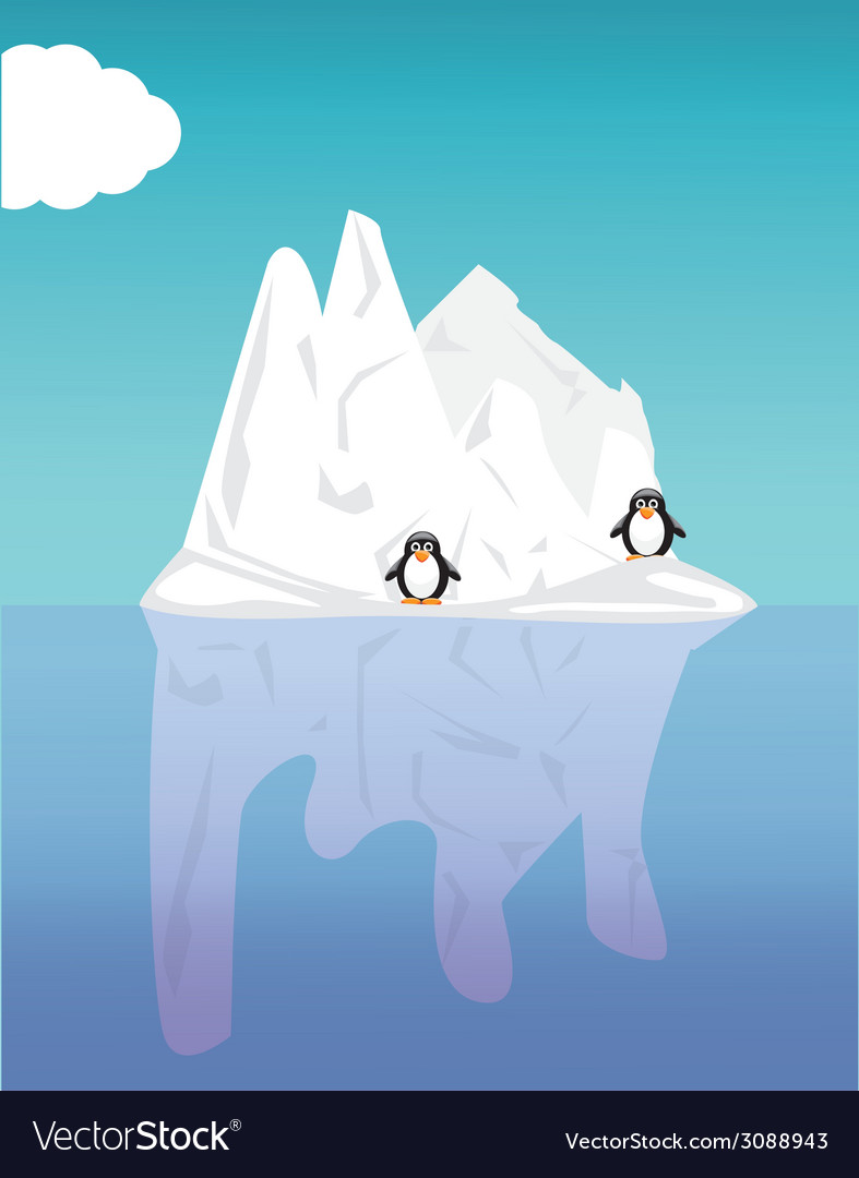 Iceberg and penguin vector | Price: 1 Credit (USD $1)