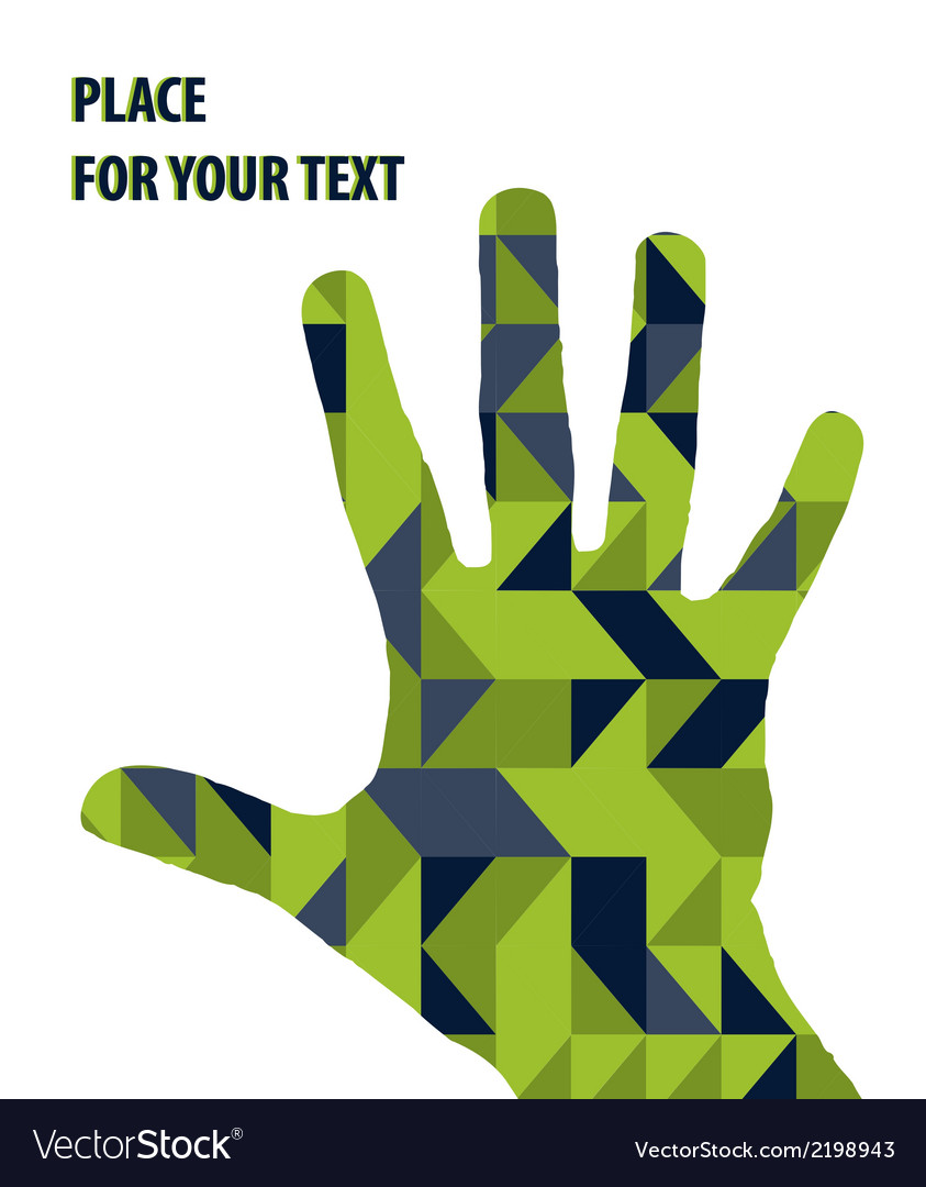 Open hand silhouette on green triangles background vector | Price: 1 Credit (USD $1)