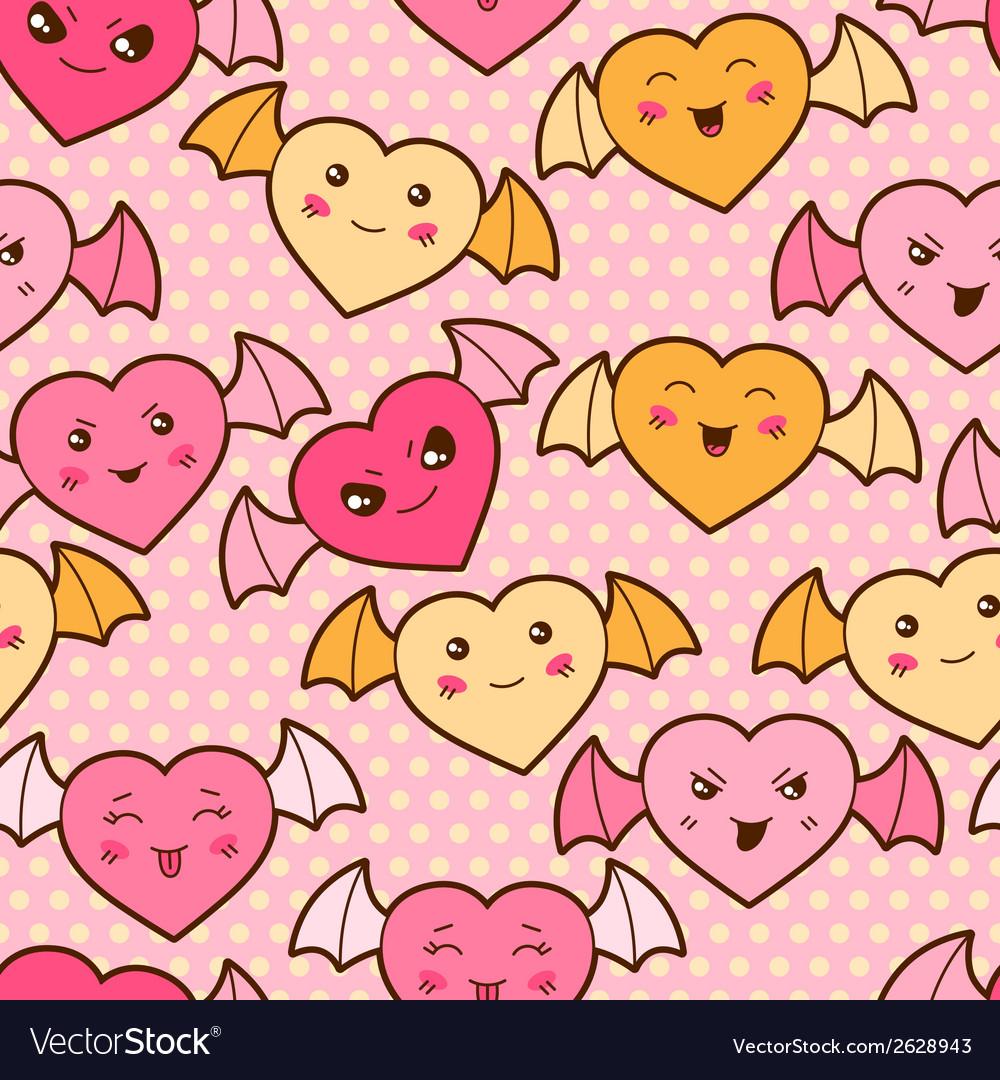 Seamless kawaii cartoon pattern with cute hearts vector | Price: 1 Credit (USD $1)