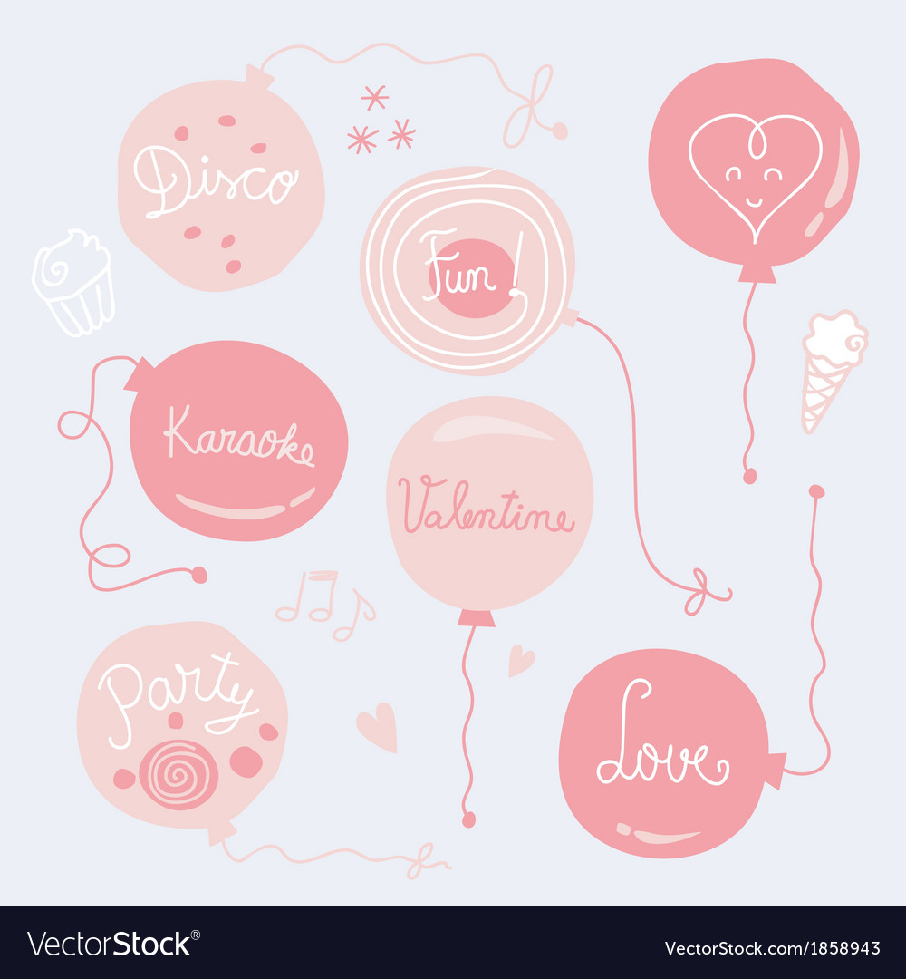 Valentines day balloons set vector | Price: 1 Credit (USD $1)