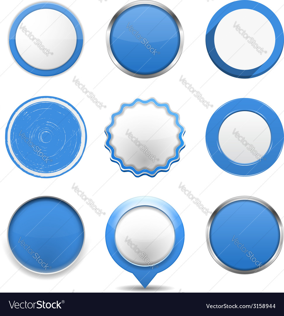 Blue round buttons vector | Price: 1 Credit (USD $1)