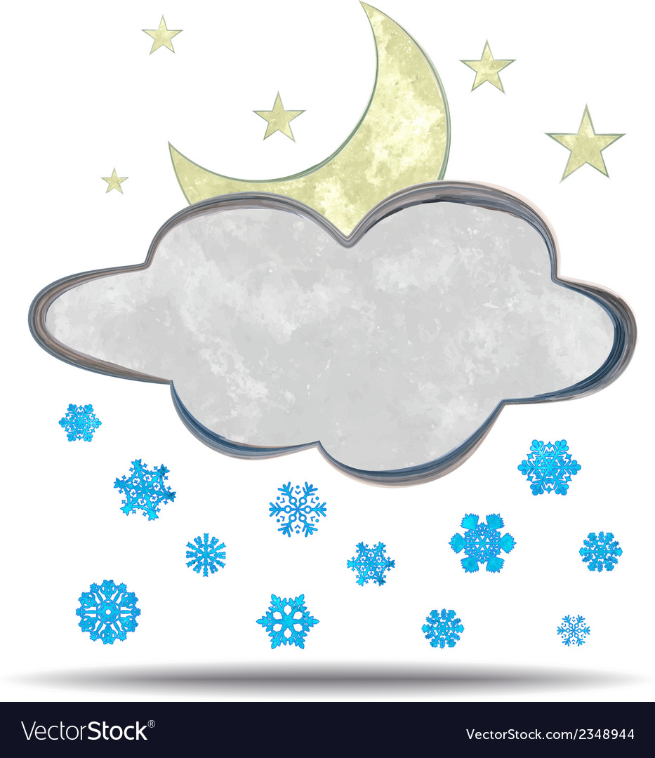 Climate cloud moon and snow vector | Price: 1 Credit (USD $1)