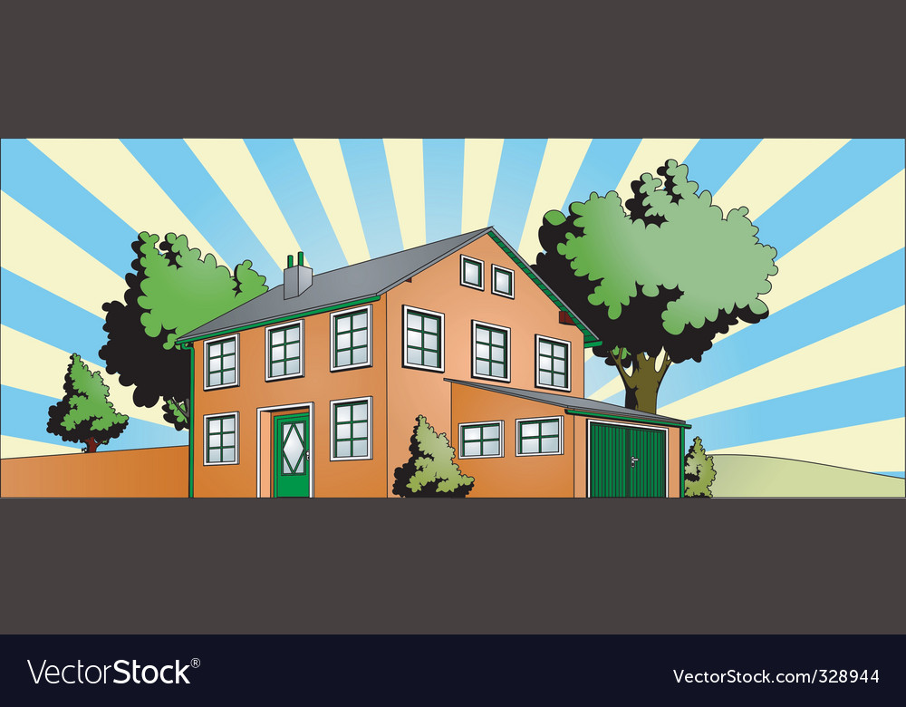 House with garden vector | Price: 1 Credit (USD $1)