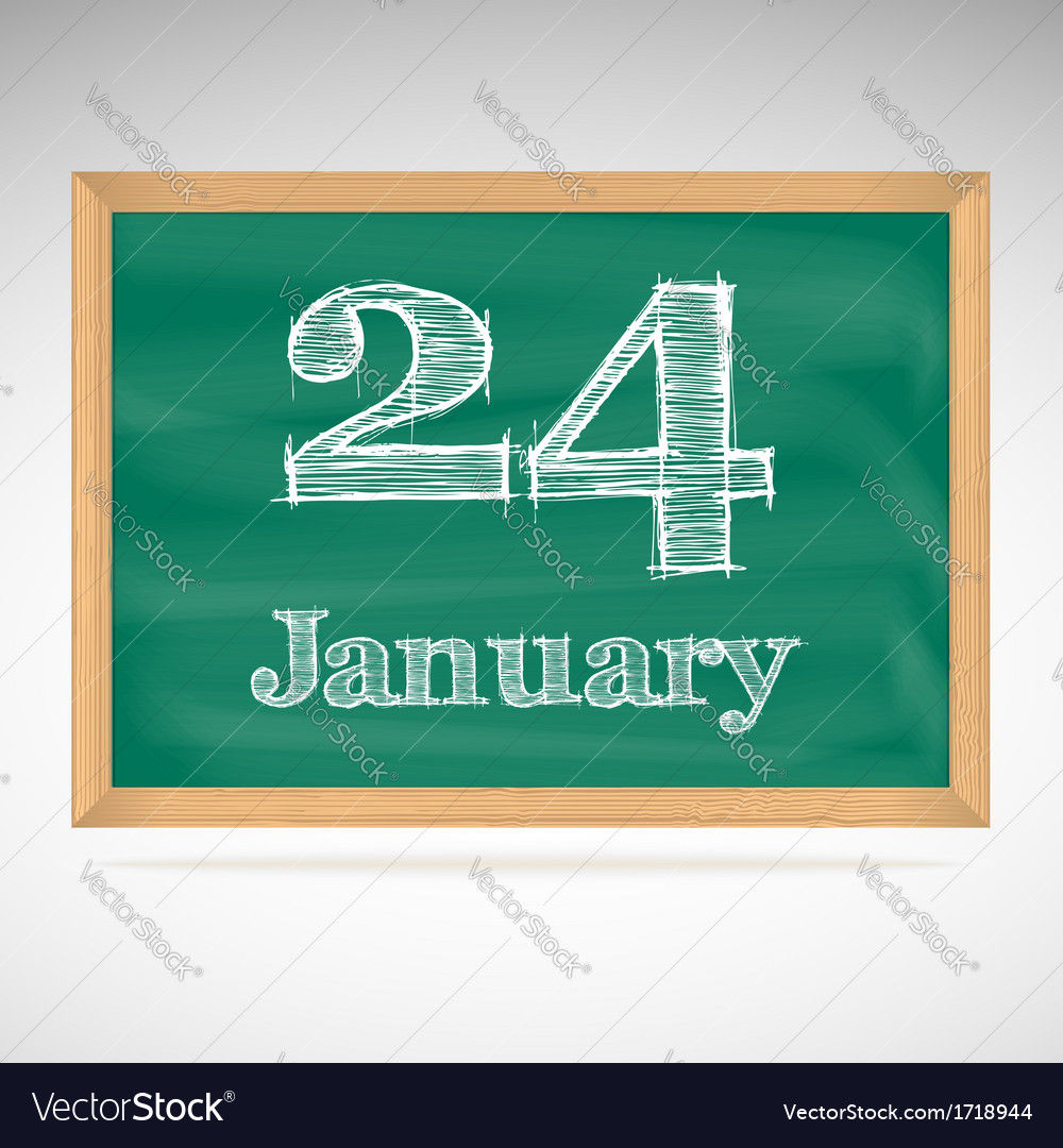 January 24 inscription in chalk on a blackboard vector | Price: 1 Credit (USD $1)
