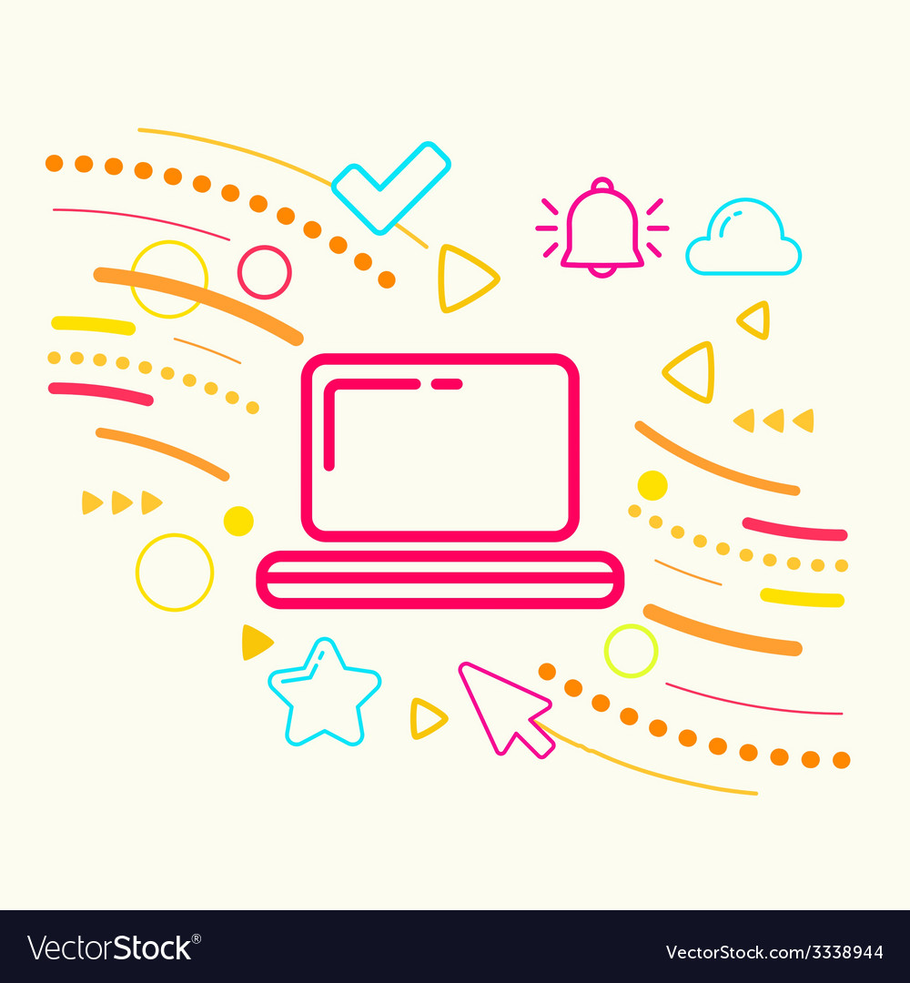 Laptop on abstract colorful geometric light vector   Price: 3 Credit (USD $3)