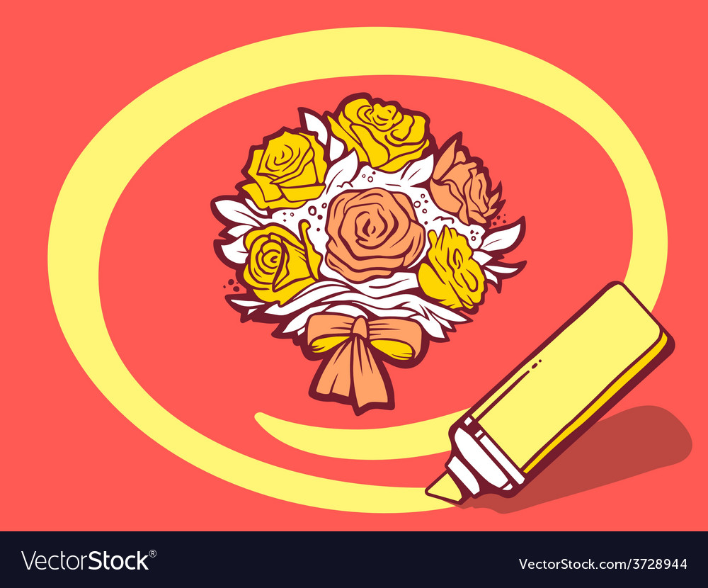 Marker drawing circle around bouquet of f vector | Price: 1 Credit (USD $1)