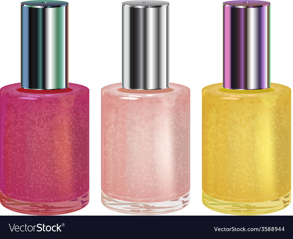Nail polish with silver cap set vector | Price: 1 Credit (USD $1)
