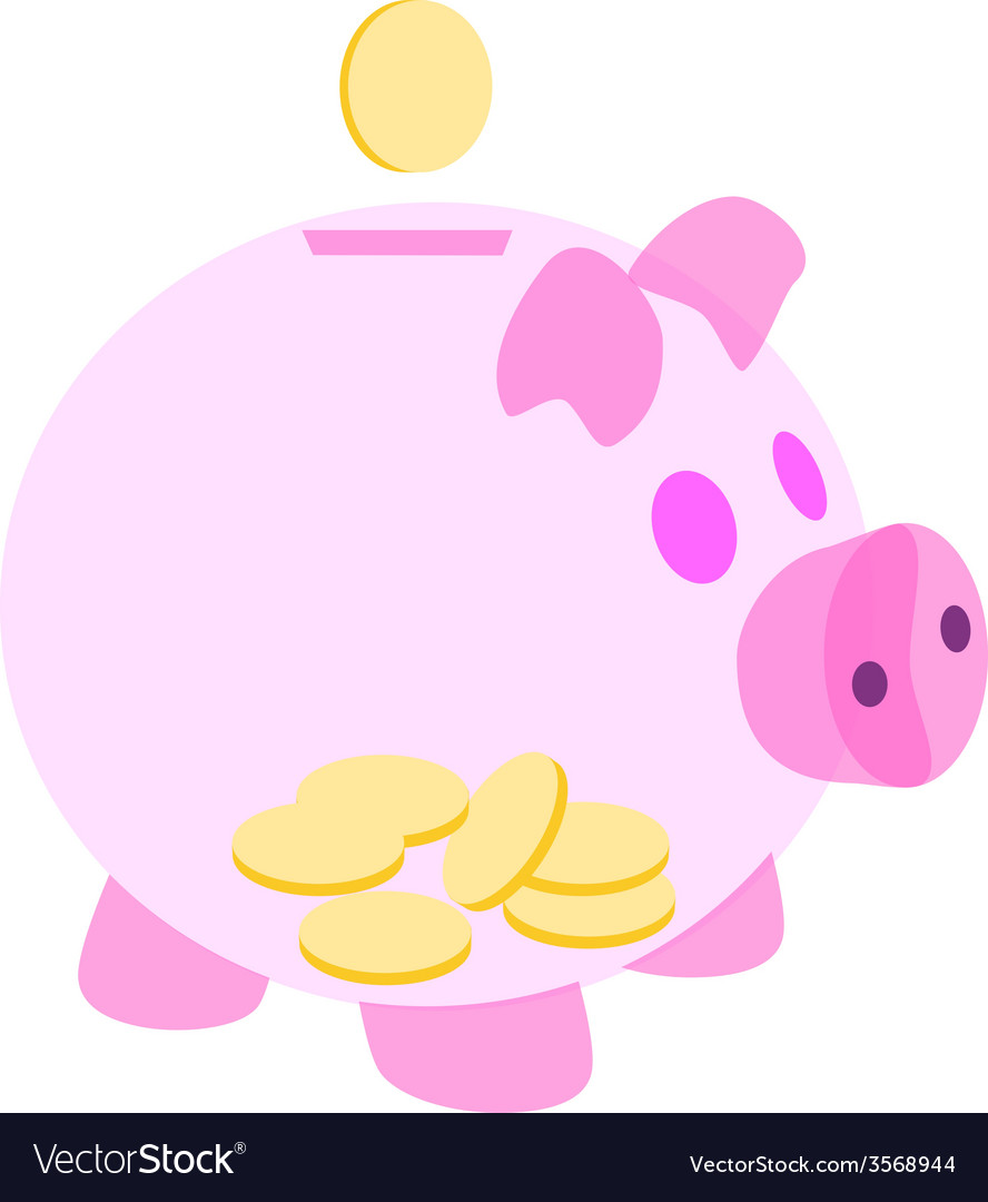Pink piggy bank with coins vector | Price: 1 Credit (USD $1)