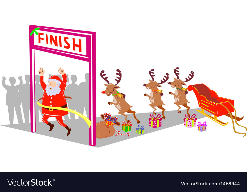 Santa claus finishing race with reindeers vector | Price: 1 Credit (USD $1)